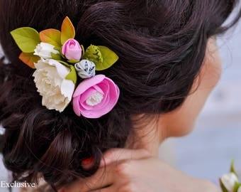 Rustic wedding comb Bridesmaid set Bridal hair comb Floral sash Wedding belt Flower hair accessories Wedding sash flower Bridesmaid belt