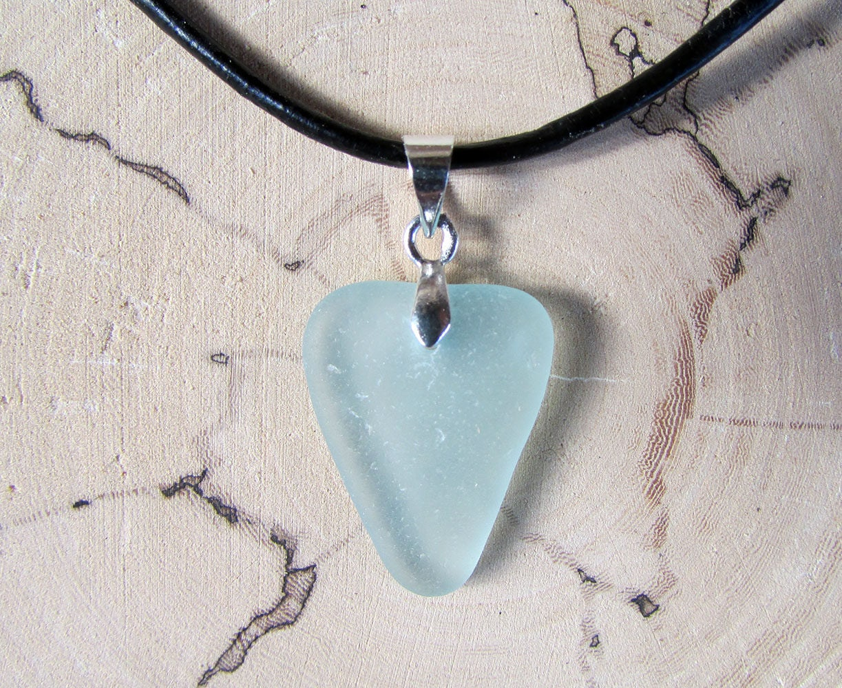sea glass pendant lights. Turquoise Sea Glass Pendant, Boho Leather Necklace, Genuine Jewelry, Pale Blue Pendant Lights