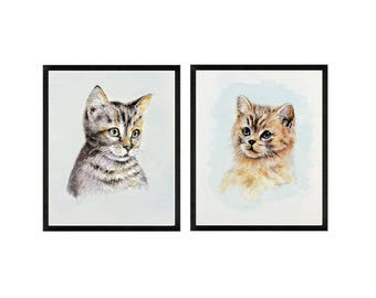 Set of 2 - Cat Painting, Cat Portrait, Cat Art Prints, FRAMED/Unframed, Framed Cat Art, Black, Gold, Cat Portrait, Kitten Art Print