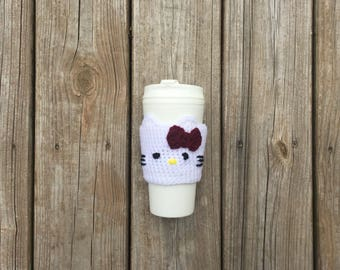 Hello Kitty Cup Cozy Cup Included Maroon Bow Hello Kitty Drink Cozy Coffee Cozy