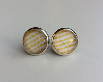 Yellow & White 10mm Round Glass Dome Stud Earrings