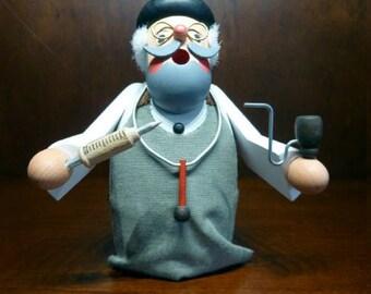 Doctor Figurine Orthopedic Surgeon Figurine Vintage Hand Carved Doctor German Man Geppetto Doctor Folk Art Figurine Wood Carved Doctor