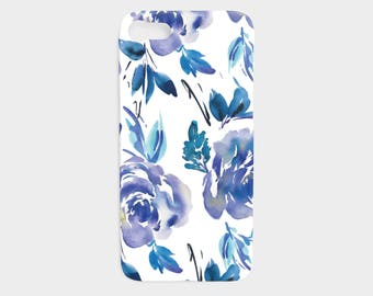 iPhone 7 Case - iPhone 6 Case - Blue Floral iPhone Case - Modern Flowers iPhone 5 Case - Samsung Galaxy S5 Case - The Mad Case