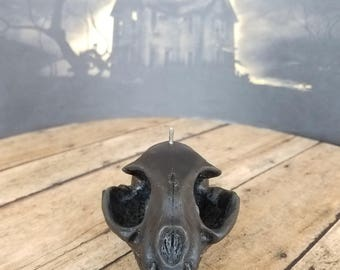 Black Beeswax Cat Skull Candle - Conjuring Spirits Collection