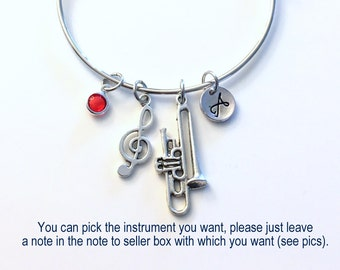 Trombone Charm Bracelet Bangle Jewelry, Any Instrument Gift for Band Student Present Musician Treble Music Note Silver Initial Teenager her