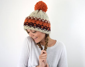Knit Winter Hat Knitted Fair Isle Double Brim Tuque - Orange Red Slouchy Beanie Hat
