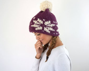 Knit Winter Hat Knitted Fair Isle Double Brim Tuque - Purple Flower Slouchy Beanie Hat