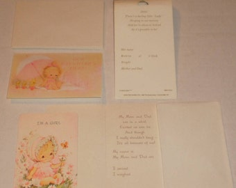 14 Cute Vintage Baby Girl Announcement Cards & Envelopes, Carlton Cards,  6 I'm A Girl Cards And 8 Our Daughter's Here