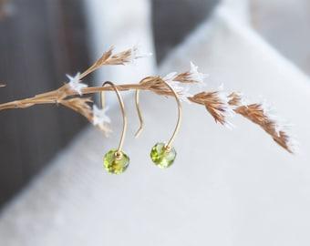 Tiny Peridot Earrings, Gift, Modern Peridot Earrings, Minimalist Green Earrings, August Birthstone Earrings, Peridot Birthstone Earrings