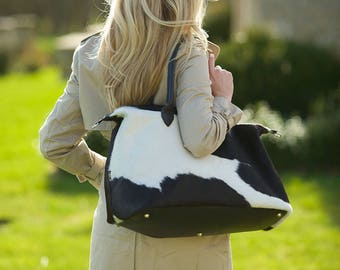 Black and White Overnight Bag | Cowhide Overnight Bag | Weekend Travel Bag
