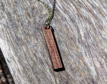 Personalized braille pendant necklace made from urban walnut wood // Christmas // birthday // anniversary // wedding // secret message