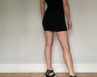 Vintage Frederick's of Hollywood mini dress// Black spandex lace fitted little sexy tight fantasy club 90s short Valentine dress// Small 4 6