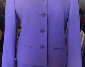 1990's Pure Wool, Lavender, Two Piece Skirt Suit, Designed by Louis Feraud, US Size 4