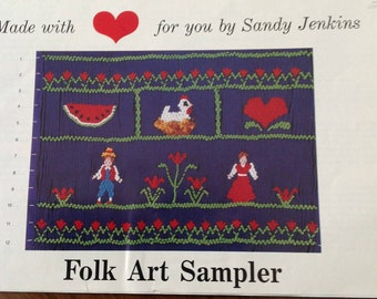 Folk Art Sampler Smocking Plate, vintage smocking plate, country smocking plate