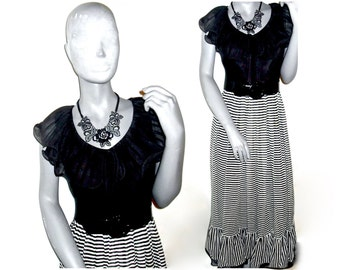 Miss Elliette California Black/Gray Stripe Print Short Sleeve Full Length Belted Waist Dress 12/14