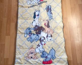 Vintage Pound Puppies Sleeping Bag Original 1986 Puppy Dog Zipper Zip up Sleep Sack Comforter DUvet Bedspread CHildren's Kids Doggys Puppies