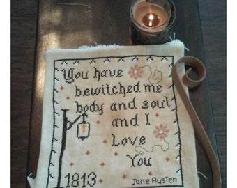 Pattern Jane Austen Pride and Prejudice movie quote, Cross Stitch pattern, Jane Austen cross stitch, Primitive Stitching, Mr. Darcy