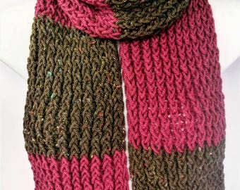 Pink knit scarf, boho knitted scarf, aran wool scarf, brown scarf, neutral scarves, summer scarves, knit scarves, brown knit scarf, lelsloom