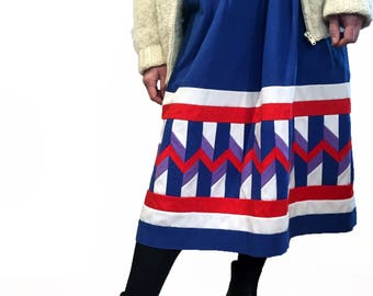 1970s, Patchwork Quilted Skirt