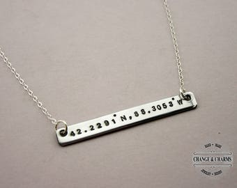 Bar Necklace, Coordinates Necklace, Sterling Silver Necklace, Custom Necklace, Gift for Friend, Gift for Girlfriend,Coordinates Bar Necklace