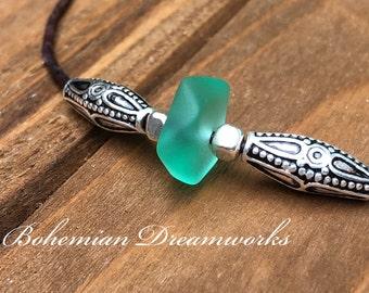 Sea Glass Choker, Green Sea Glass Necklace, Leather Sea Glass Choker, Sea Glass Jewelry, Beach Glass Necklace, Adjustable Choker, Teen Gift