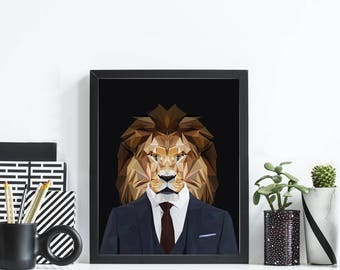 Lion in Suit - Geometric Print - Business - Art