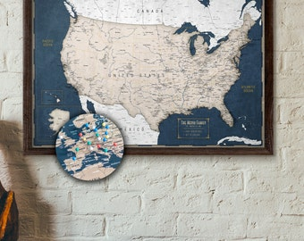 Push pin maps and world maps by krmaps on etsy large push pin map usa personalized travel map of the us executive style 24x36 gumiabroncs Image collections