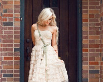 1950's Blush Pink Tiered Tulle and Lace Fairy Short Dress