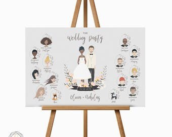 Wedding Party Portrait, Wedding Program Sign, Illustrated Wedding Party, Program Sign, Custom Portrait, Illustrated Portrait, gift #ICS