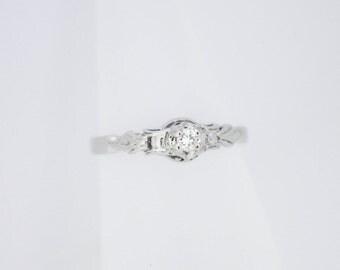 Vintage/Antique 9K White Gold 4 Claw Diamond Solitaire Ring (Art Deco?) 9ct
