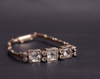 Amazing soviet sterling silver natural quartz bracelet. Made in USSR