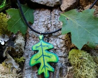 Hand carved wooden green oak leaf pendant nature hiking