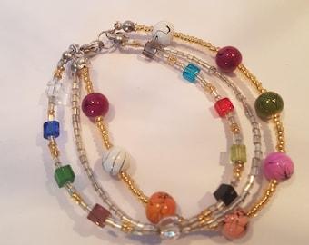 Tri Multi-coloured Beaded Bracelet