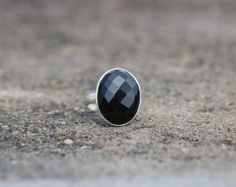 Natural Black Onyx Faceted ring with 92.5 Sterling Silver ; Oval Shaped Ring;Statement ring; Gift for her