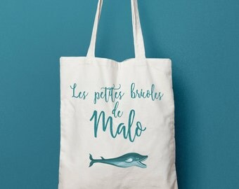 Tote bag personalized Mini whale, personalized cotton bag, kids bag, diaper bag, birth gift