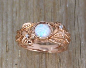 Nature inspired ring, rose Gold engagement, leaf ring, white opal, flower & leaves ring, statement solid gold ring, twig band, Unique