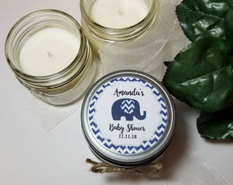 12 - 4 oz Baby Boy Shower Favors - Soy Candle Favors - Elephant Theme - Gift for Guests  - Baby Shower Prizes - Personalized Favors