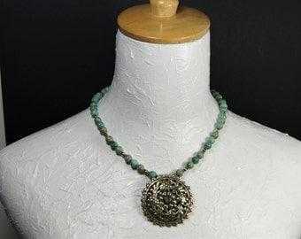 Antique Tibetan Pendant with Turquoise Beads E 073