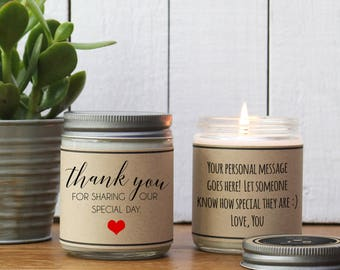 Thank You For Sharing Our Special Day Candle Gift | Day of Wedding Thank You Gift | Wedding Day Thank You Gift | Wedding Favor Candle