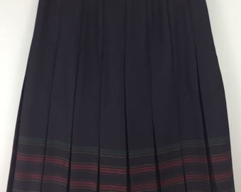 EDINBURGH vintage navy blue striped 100% wool pleated skirt uk 18/20