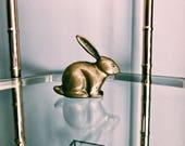 Vintage Brass Bunny Rabbit / Easter Rabbit Decor / Bunny Paperweight w/ Felt Bottom