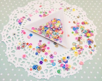 100pc Assorted Flower Fimo Slices Kawaii Polymer Clay Nail Art Deco Cabochon Decoden Craft DIY