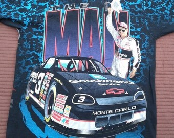 """Vintage 90's Dale Earnhardt """"The Man"""" All Over Print Made in USA Medium t-shirt"""