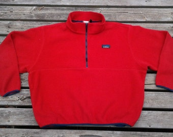 Vintage 90's L.L. Bean bright red fleece pullover zip-up Made in USA Women's XL
