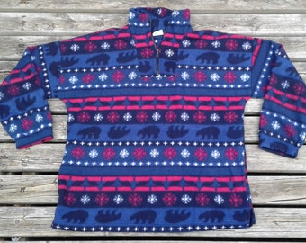 Vintage 80's / 90's Fleece Pullover Sweater Aztec Abstract Polar Bears Snowflakes Made in Canada by Oceanic Classic