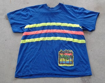 "Vintage 80's / 90's ""Sunset Blvd. A.D. & CO."" Neon striped blue party time beach shirt Made in Canada XL"