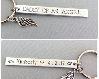 Double Sided Daddy Of An Angel Keychain, Mommy of an Angel Gift, Miscarriage Gift, Infant Loss Gift, Hand Stamped Keychain, Personalized