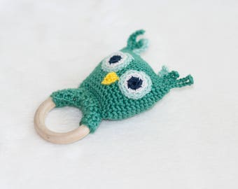Owl Rattle Toy Teething Toy Baby Rattle Baby Shower Gift Newborn Gift Sensory Toy