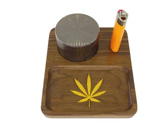 Deluxe Walnut Wood Mini Rolling Tray With Yellow Orpiment Stone Inlay - Free Shipping!
