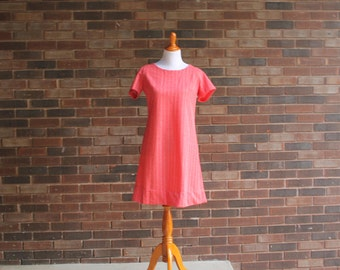 1960s Red Striped Shift Dress
